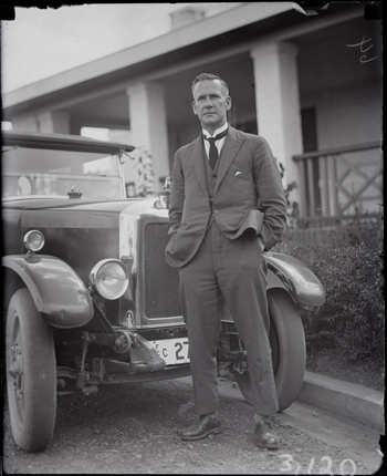 Royal Visit, May 1927 - Mr Mildenhall with his Armstrong Siddeley motor car Registration Number 27